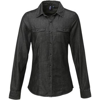 vaatteet Naiset Paitapusero / Kauluspaita Premier Stitch Black Denim