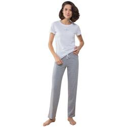vaatteet Naiset pyjamat / yöpaidat Towel City TC053 White/Heather Grey