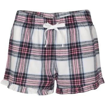 vaatteet Naiset Shortsit / Bermuda-shortsit Skinni Fit SK082 White/Pink Check