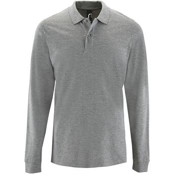 vaatteet Miehet Pitkähihainen poolopaita Sols 2087 Grey Marl