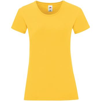 vaatteet Naiset Lyhythihainen t-paita Fruit Of The Loom 61432 Sunflower Yellow