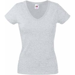 vaatteet Naiset Lyhythihainen t-paita Fruit Of The Loom 61398 Heather Grey