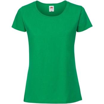 vaatteet Naiset Lyhythihainen t-paita Fruit Of The Loom 61424 Bright Green