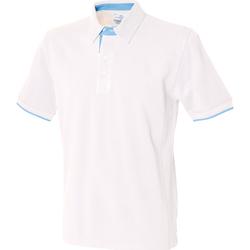vaatteet Miehet Lyhythihainen poolopaita Front Row FR200 White/ Sky Blue