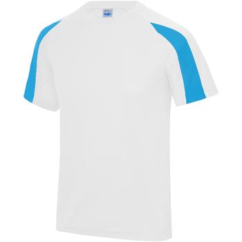 vaatteet Miehet Lyhythihainen t-paita Just Cool JC003 Arctic White/Sapphire Blue