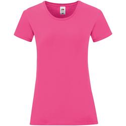 vaatteet Naiset Lyhythihainen t-paita Fruit Of The Loom 61432 Fuchsia Pink