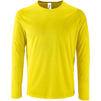 vaatteet Miehet T-paidat pitkillä hihoilla Sols 2071 Neon Yellow