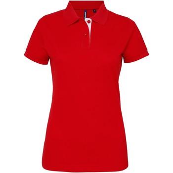 vaatteet Naiset Lyhythihainen poolopaita Asquith & Fox Contrast Red/ White