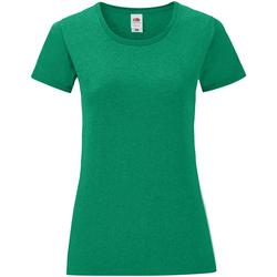 vaatteet Naiset Lyhythihainen t-paita Fruit Of The Loom 61432 Heather Green