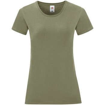 vaatteet Naiset Lyhythihainen t-paita Fruit Of The Loom 61432 Classic Olive Green