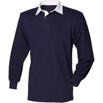 vaatteet Miehet Pitkähihainen poolopaita Front Row FR100 Navy/White