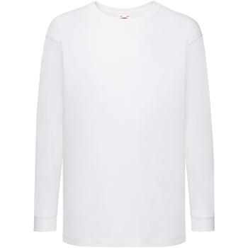 vaatteet Lapset T-paidat pitkillä hihoilla Fruit Of The Loom 61007 White