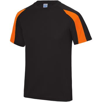 vaatteet Miehet Lyhythihainen t-paita Just Cool JC003 Jet Black/Electric Orange