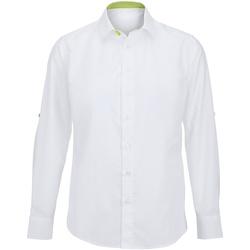 vaatteet Miehet Pitkähihainen paitapusero Alexandra Hospitality White/ Lime