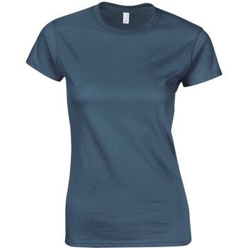 vaatteet Naiset Lyhythihainen t-paita Gildan Soft Indigo Blue