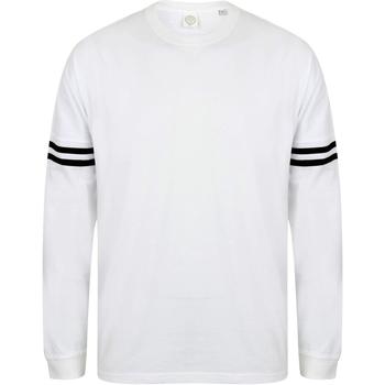 vaatteet Miehet T-paidat pitkillä hihoilla Skinni Fit Slogan White / Black Stripes
