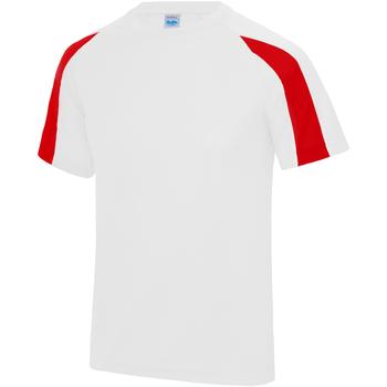 vaatteet Miehet Lyhythihainen t-paita Just Cool JC003 Arctic White/Fire Red