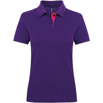 vaatteet Naiset Lyhythihainen poolopaita Asquith & Fox Contrast Purple/ Pink