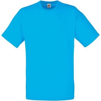 vaatteet Miehet Lyhythihainen t-paita Fruit Of The Loom 61036 Azure Blue