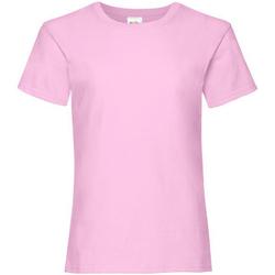 vaatteet Tytöt Lyhythihainen t-paita Fruit Of The Loom 61005 Light Pink