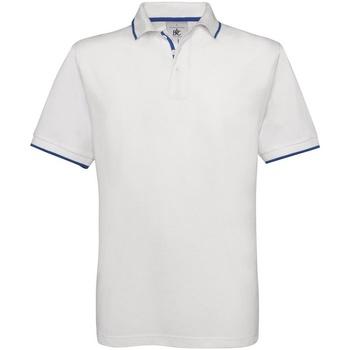vaatteet Miehet Lyhythihainen poolopaita B And C BA351 White/Royal Blue