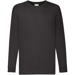 vaatteet Lapset T-paidat pitkillä hihoilla Fruit Of The Loom 61007 Dark Heather
