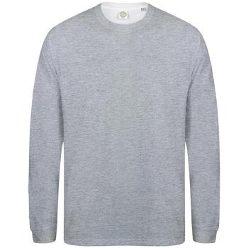 vaatteet Miehet T-paidat pitkillä hihoilla Skinni Fit Slogan Heather Grey