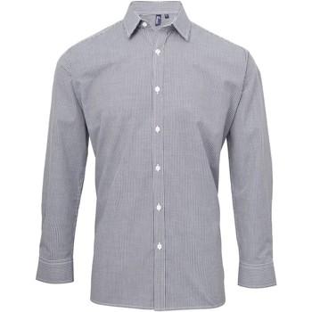vaatteet Miehet Pitkähihainen paitapusero Premier Microcheck Navy/White