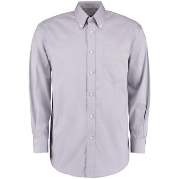 vaatteet Miehet Pitkähihainen paitapusero Kustom Kit KK105 Silver Grey