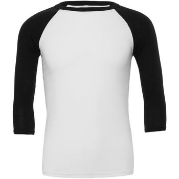 vaatteet Miehet T-paidat pitkillä hihoilla Bella + Canvas CA3200 White/Black