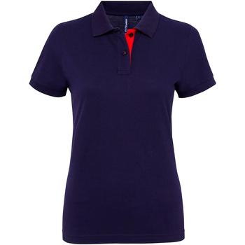 vaatteet Naiset Lyhythihainen poolopaita Asquith & Fox Contrast Navy/ Red