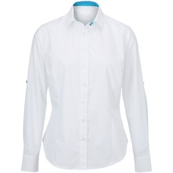 vaatteet Naiset Paitapusero / Kauluspaita Alexandra AX060 White/ Peacock
