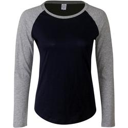 vaatteet Naiset T-paidat pitkillä hihoilla Skinni Fit SK271 Oxford Navy/Heather Grey