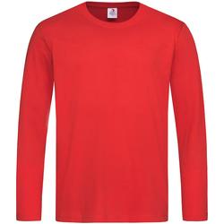 vaatteet Miehet T-paidat pitkillä hihoilla Stedman  Scarlet Red