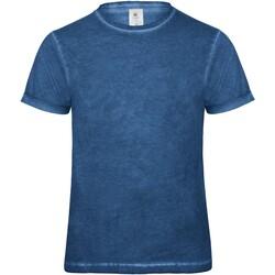 vaatteet Miehet Lyhythihainen t-paita B And C BA801 Blue Clash