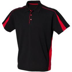 vaatteet Miehet Lyhythihainen poolopaita Finden & Hales LV390 Black/Red