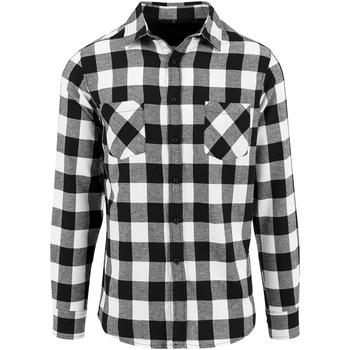 vaatteet Miehet Pitkähihainen paitapusero Build Your Brand BY031 Black/White