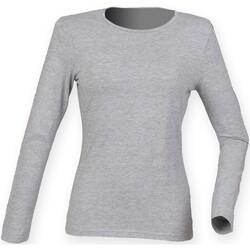vaatteet Naiset T-paidat pitkillä hihoilla Skinni Fit SK124 Heather Grey