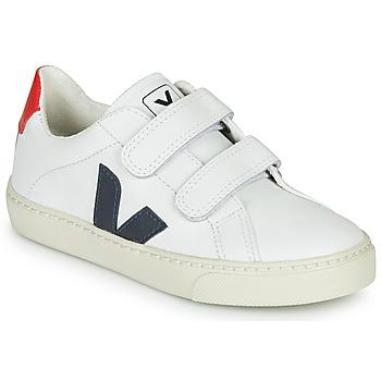 kengät Lapset Matalavartiset tennarit Veja SMALL-ESPLAR-VELCRO White / Blue / Red