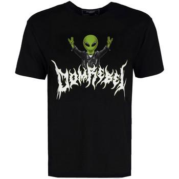 vaatteet Miehet Lyhythihainen t-paita Domrebel  Musta