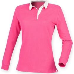 vaatteet Naiset Pitkähihainen poolopaita Front Row FR105 Bright Pink