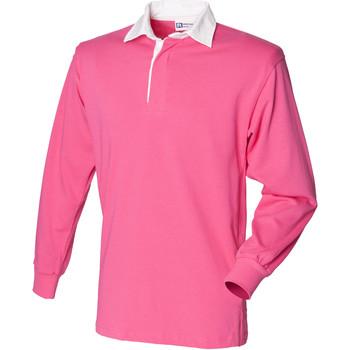 vaatteet Lapset Pitkähihainen poolopaita Front Row FR109 Bright Pink