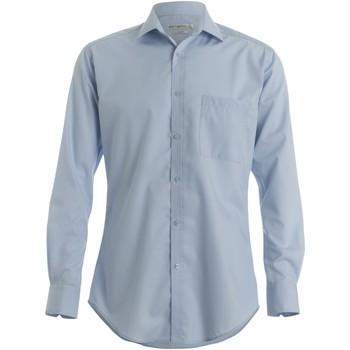 vaatteet Miehet Pitkähihainen paitapusero Kustom Kit KK113 Light Blue