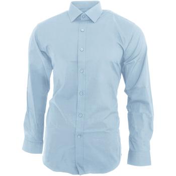vaatteet Miehet Pitkähihainen paitapusero Brook Taverner BK130 Sky Blue