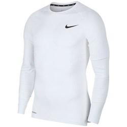 vaatteet Miehet T-paidat pitkillä hihoilla Nike Pro Top Compression Crew Valkoiset