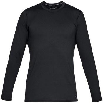 vaatteet Miehet T-paidat pitkillä hihoilla Under Armour Fitted CG Crew Mustat