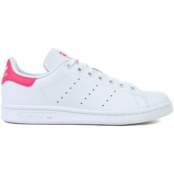 kengät Lapset Matalavartiset tennarit adidas Originals Stan Smith J Valkoiset, Vaaleanpunaiset