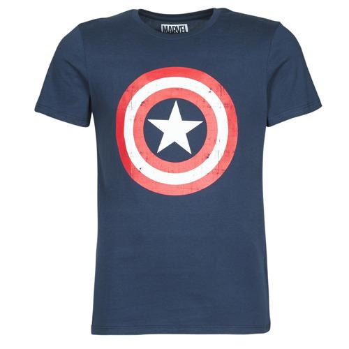 vaatteet Miehet Lyhythihainen t-paita Yurban CAPTAIN AMERICA LOGO Laivastonsininen