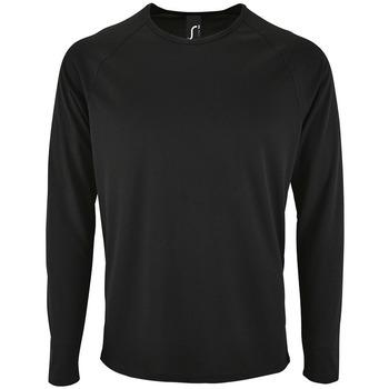 vaatteet Miehet T-paidat pitkillä hihoilla Sols SPORT LSL MEN Negro