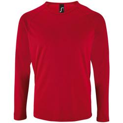 vaatteet Miehet T-paidat pitkillä hihoilla Sols SPORT LSL MEN Rojo